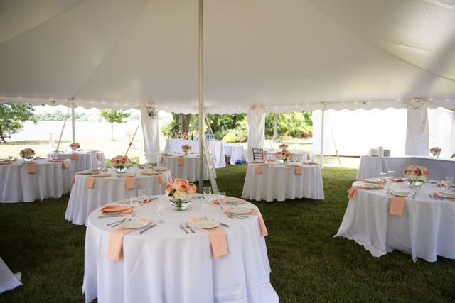 Chesapeake Shore Weddings and Events wedding ceremony outdoor set up tent tables eastern shore